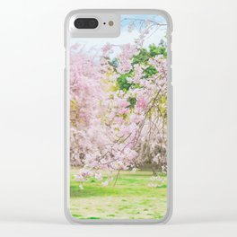 cherry blossoms blooming in a fantastic garden Clear iPhone Case