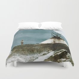 Echoes Call - American Indian Camp Duvet Cover