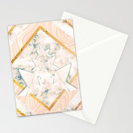Paper doves on marble Stationery Cards