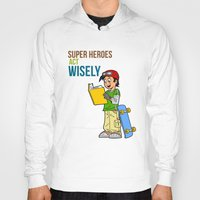 super heroes Hoodies featuring Super Heroes Act Wisely by youngmindz