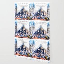 Blue Mosque, Istanbul, Aquarell Wallpaper