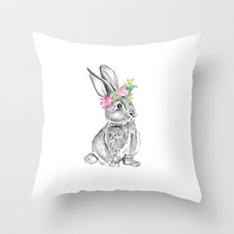 Bunny | Animal Illustration Throw Pillow