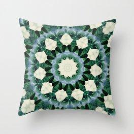 Sacramento Green and Cerulean Blue Mandala Throw Pillow