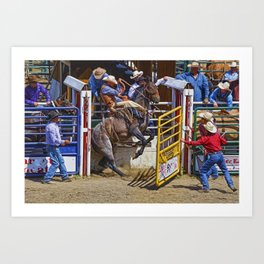 The Release - Rodeo Bronco Riding Art Print