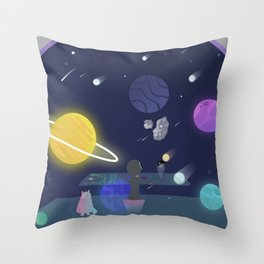 Asteroid ahead (An alien driving a spaceship to an asteroid with the help of a space-cat) Throw Pillow