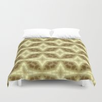 coasters Duvet Covers featuring Abstract Gold Pattern by Lena Photo Art