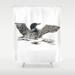 Morning Stretch - Common Loon Shower Curtain