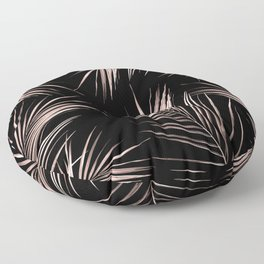 Rosegold Palm Tree Leaves on Midnight Black Floor Pillow