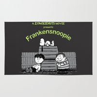 snoopy Area & Throw Rugs featuring Frankensnoopie by Pigboom Art