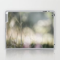 Detail of wild grass growing on a heath with early morning light. Norfolk, UK. Laptop & iPad Skin