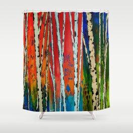 Birch Tree Stitch Shower Curtain