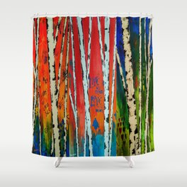 Birch Tree Stitch Shower Curtain