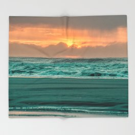 Turquoise Ocean Pink Sunset Throw Blanket