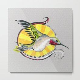 Hummingbird And The Sun Ink Doodle Metal Print