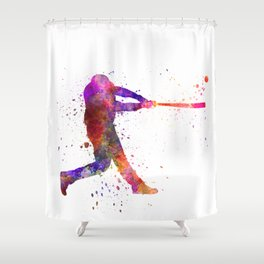 Baseball player hitting a ball 01 Shower Curtain