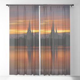Fiery Sunset Reflection At The The Lichfield Cathedral Sheer Curtain