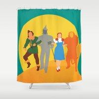 oz Shower Curtains featuring Wzard of Oz by Fräulein Fisher