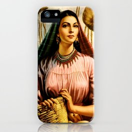 Jesus Helguera Painting of a Mexican Fisher Girl With Basket iPhone Case
