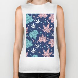 Pink and blue-green Japanese maple leaves pattern Biker Tank