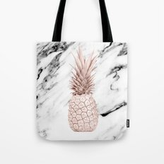Pineapple Rose Gold Marble Tote Bag