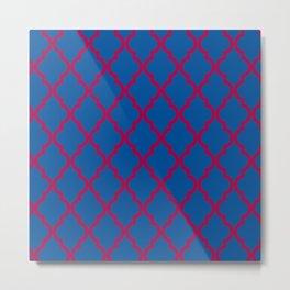 Moroccan Quatrefoil Pattern: Red & Blue Metal Print