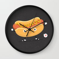 hot dog Wall Clocks featuring Hot Dog by Céline Dscps