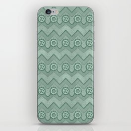 Chevrons and Sprockets - Mint Green Repeating Pattern iPhone Skin