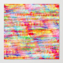 Light Rainbow Tie Dye Stripes Canvas Print