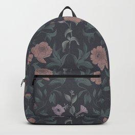 vintage peonies on a dark background Backpack