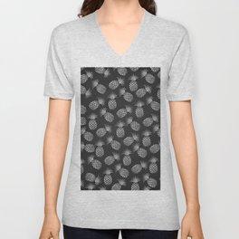 Tropical modern black gray pineapple fruit pattern Unisex V-Neck