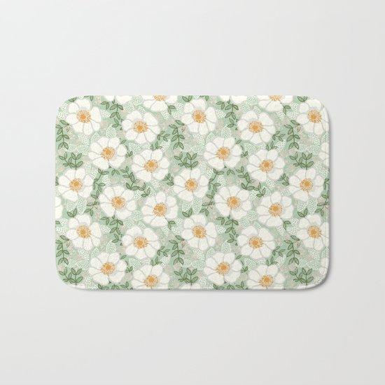Sage pastel white green flowers blossom garden summer spring nature pattern painting florals Bath Mat