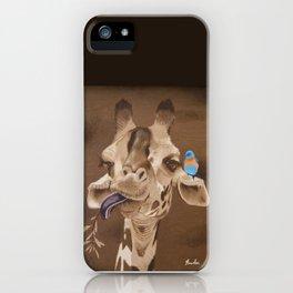 Giraffe with Bird iPhone Case