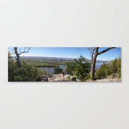 Panoramic view of the Upper Mississippi River, looking into MN from Buena Vista Park, Alma, WI Canvas Print
