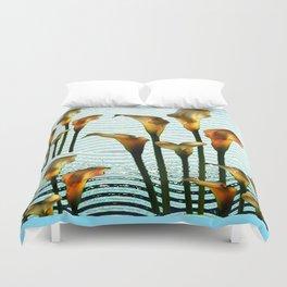 Blue Swamp Calla Lilies Duvet Cover