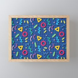 Blue Memphis Pattern Framed Mini Art Print