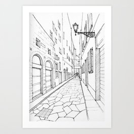 Narrow alley in Florence Art Print