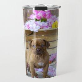 Puppy Flowers French Mastiff Dog De Bordeaux Travel Mug