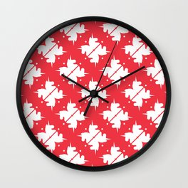 Bright Unicorn Icon Abstract Shape Pattern in Cherry and White Wall Clock