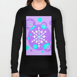 A Lavender and Aqua Snowflake Design Long Sleeve T-shirt