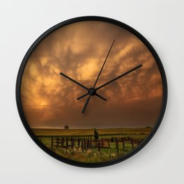 Afterglow - Clouds Glow After Storms at Sunset Wall Clock