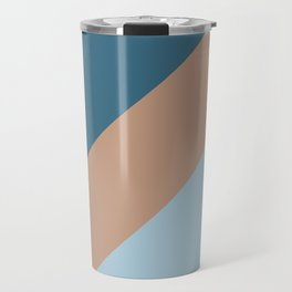 Brown Pastel Blue Minimal Diagonal Stripe Pattern 2021 Color of the Year Canyon Dusk & Accent Shades Travel Mug