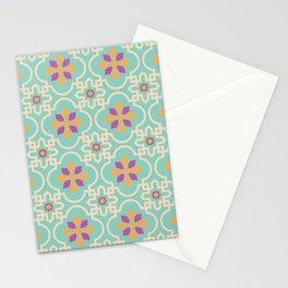Traditional vintage tile flower pattern Stationery Cards