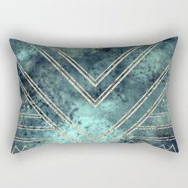 Jade Chevron Gold Rectangular Pillow
