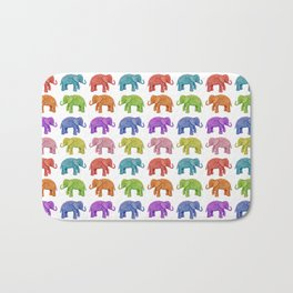 Colorful Parade of Elephants in Red, Orange, Yellow, Green, Blue, Purple and Pink Bath Mat