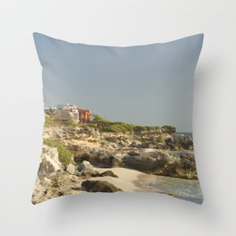 Paradise Island Life Tropical Caribbean Villa House Travel Mexico Vacation Decor Landscape Throw Pillow