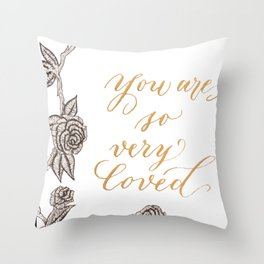 You are Loved - Ink and Gold Throw Pillow