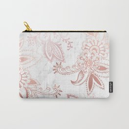 Rose Gold Paisley Carry-All Pouch