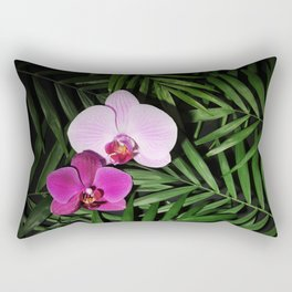 Orchids with palm leaves Rectangular Pillow