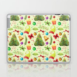 Vintage green red colorful festive Merry Christmas floral Laptop & iPad Skin