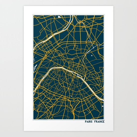 Paris France Map Art Print